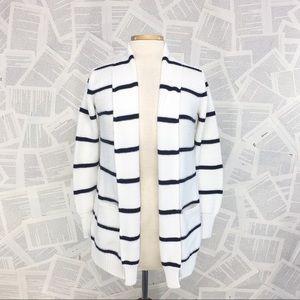 Athleta Knit Cardigan Shawl Collar Navy White Med